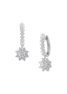 Badgley Mischka 14K White Gold & 1.35 TCW Lab-Grown Star Huggie-Drop Earrings