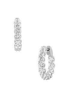 Badgley Mischka 14K White Gold & 3.50 TCW Lab-Grown Diamond Hoop Earrings