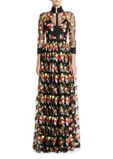 Badgley Mischka 3/4-Sleeve Floral Embroidered Sheer Yoke Illusion Shirt Gown