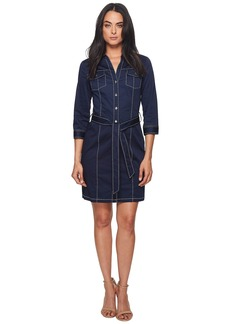 Badgley Mischka 3/4 Sleeve Shirtdress w/ Contrast Stitching