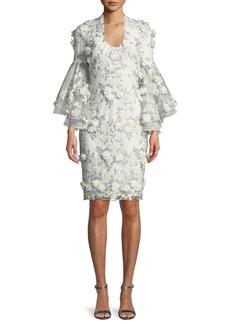 Badgley Mischka 3D Floral Applique Bell-Sleeve Cocktail Dress