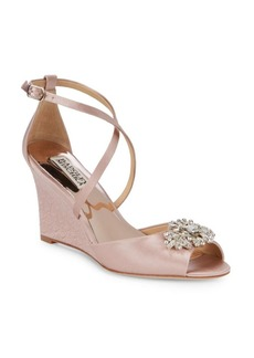 Badgley Mischka Abigail Embellished Satin Ankle Strap Sandals