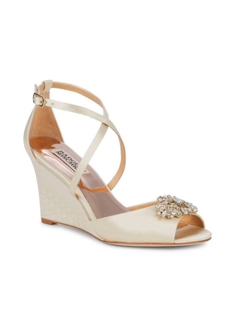 Badgley Mischka Abigail Satin Embellished Wedge Sandals
