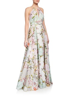 Badgley Mischka Alice Floral-Print Keyhole Halter Gown