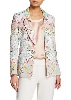 Badgley Mischka Alice Printed One-Button Jacket