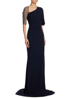 Badgley Mischka Asymmetric Beaded Sleeve Gown