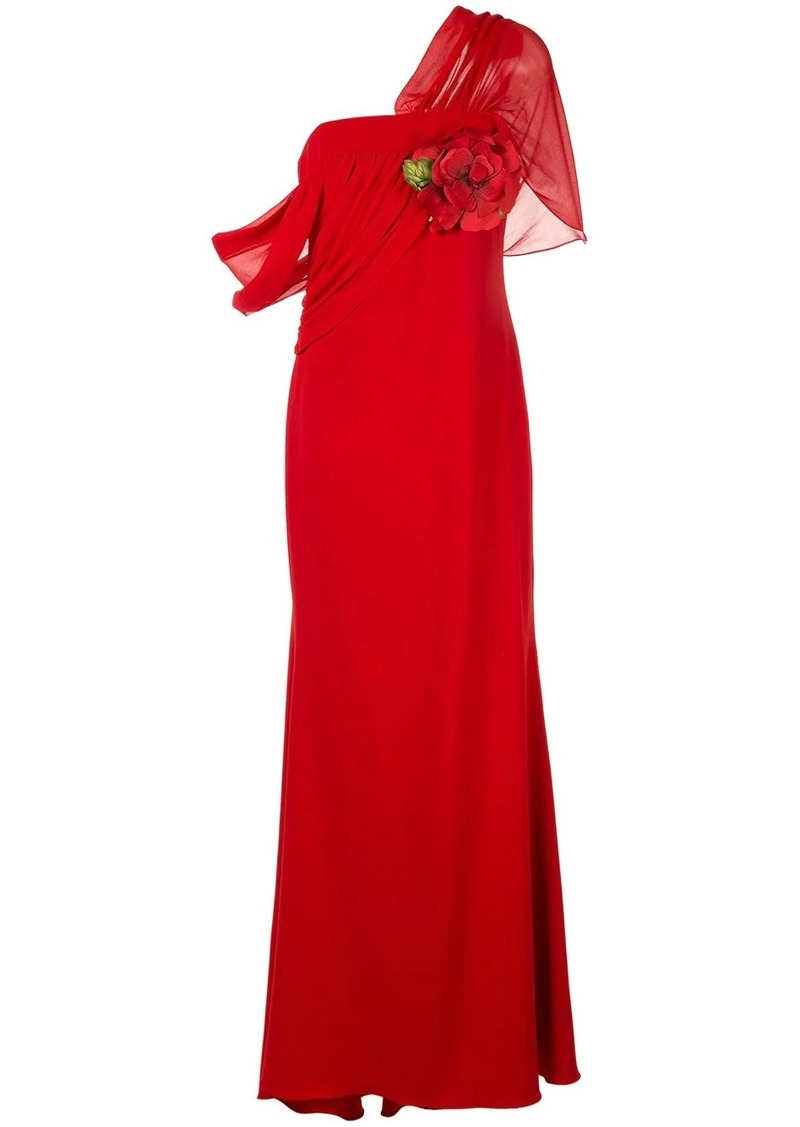 Badgley Mischka asymmetric draped gown