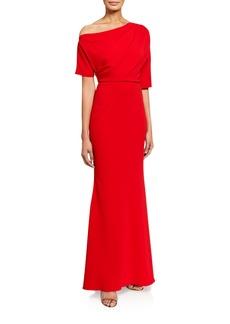 Badgley Mischka Asymmetric One-Shoulder Elbow-Sleeve Column Gown