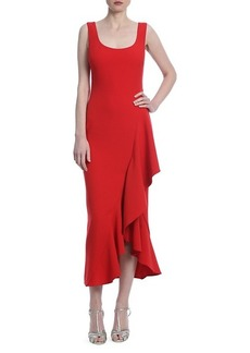 Badgley Mischka Asymmetric Ruffle Midi Dress