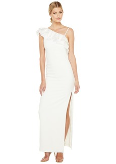 Badgley Mischka Asymmetrical Lace Trimmed Gown