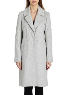 Badgley Mischka Ayesha Pearly Embellished Wool-Blend Coat