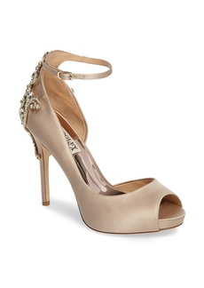 Badgley Micshka Karson Embellished Peep Toe Pump (Women)