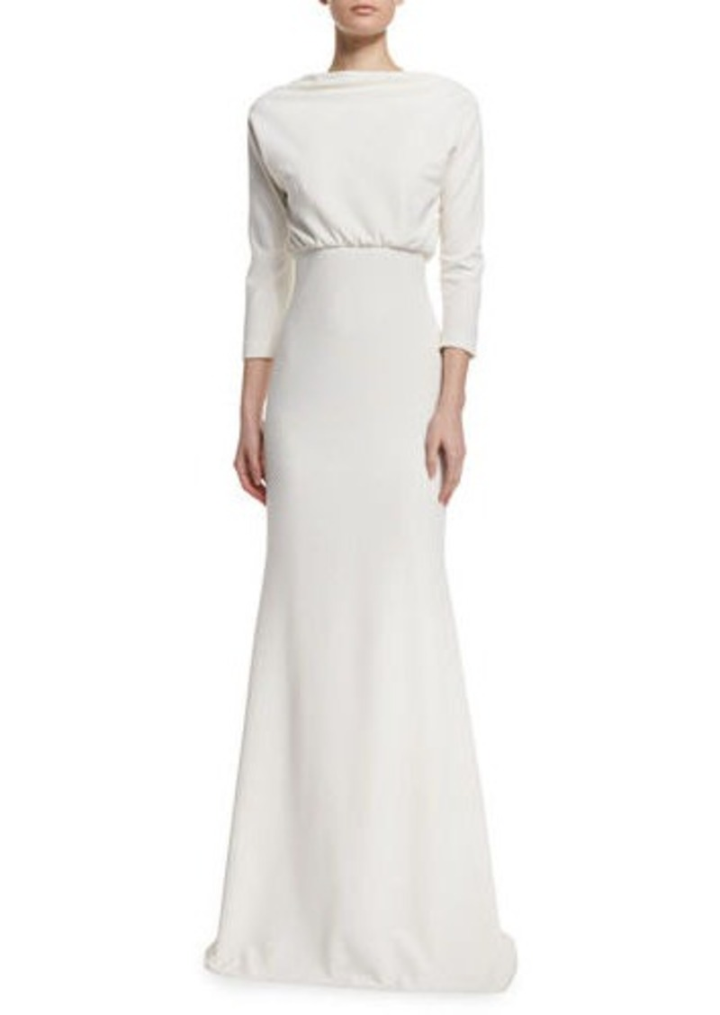 Badgley Mischka 3 4 Sleeve Blouson Jersey Gown