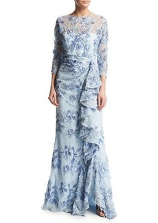 Badgley Mischka 3/4-Sleeve Embroidered Floral Lace Gown