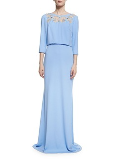 Badgley Mischka 3/4-Sleeve Floral Mesh Stretch Jersey Gown