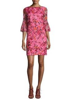 Badgley Mischka 3/4-Sleeve Floral Silk Shift Dress