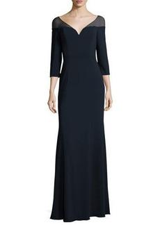 Badgley Mischka 3/4-Sleeve Jersey Evening Gown
