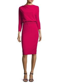 Badgley Mischka 3/4-Sleeve Stretch Crepe Blouson Dress