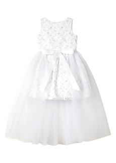 Badgley Mischka Collection 3D Flower Dress (Big Girls)