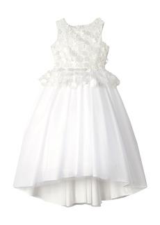 Badgley Mischka Collection 3D Flower Peplum Dress (Little Girl & Big Girl)