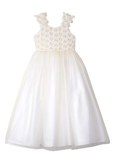 Badgley Mischka 3D Flower Tulle Dress (Big Girl)