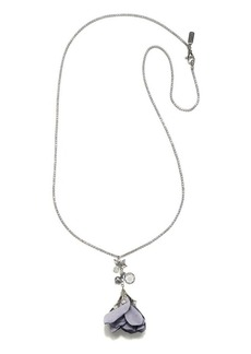 Badgley Mischka 6-7MM Light Grey Pearl and Crystal Flower Pendant Necklace