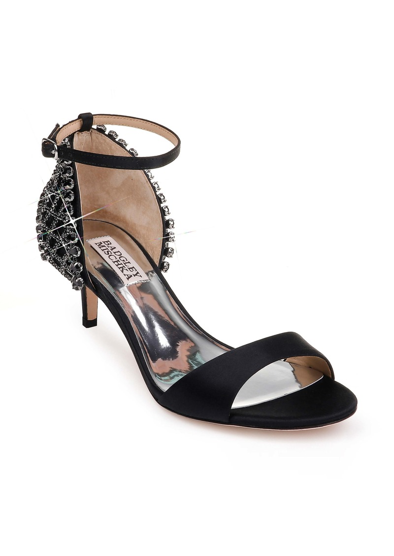 Badgley Mischka Adora Embellished Kitten Heel Sandal (Women)