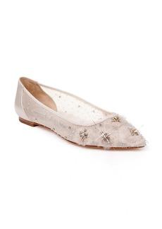 Badgley Mischka Adrienne Crystal Embellished Skimmer Flat (Women)