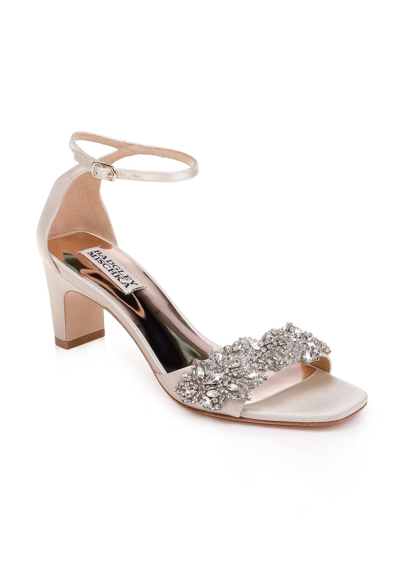 Badgley Mischka Alison Crystal Embellished Ankle Strap Sandal (Women)