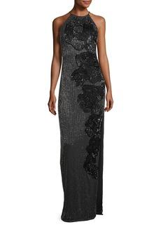 Badgley Mischka Allover Beaded Sleeveless Halter Evening Gown