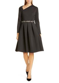 Badgley Mischka Asymmetrical Neckline Fit & Flare Scuba Dress