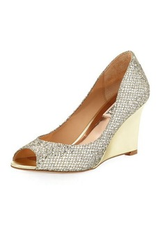 Badgley Mischka Awake Glitter Metallic Wedge Pump
