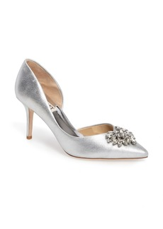 Badgley Mischka Baltic Pointy Toe Half d'Orsay Embellished Pump (Women)