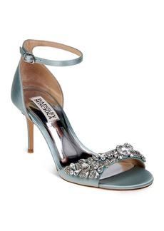 Badgley Mischka Bankston Satin Embellished Ankle Strap High Heel Sandals