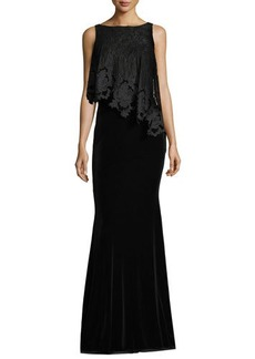 Badgley Mischka Bateau-Neck Sleeveless Lace/Velvet Evening Gown