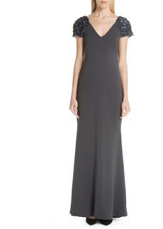 Badgley Mischka Platinum Beaded Cap Sleeve Gown