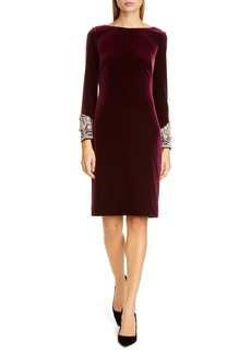 Badgley Mischka Beaded Cuff Velvet Cocktail Dress