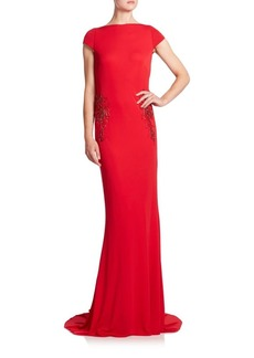 Badgley Mischka Beaded Draped-Back Gown