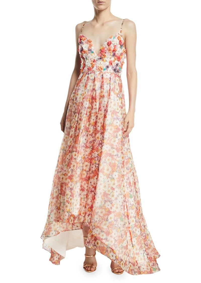 1a443be4 Badgley Mischka Beaded Floral Organza High-Low Gown   Dresses