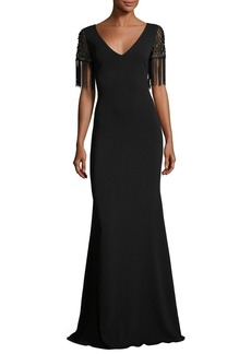 Badgley Mischka Beaded Fringe-Sleeve V-Neck Crepe Evening Gown