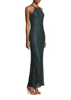 Badgley Mischka Beaded Halter Gown