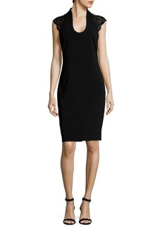 Badgley Mischka Beaded Knee-Length Dress