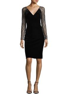 Badgley Mischka Beaded-Lace Sleeve Velvet Cocktail Dress