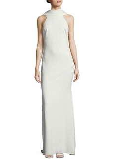 Badgley Mischka Beaded Loop Back Floor-Length Dress
