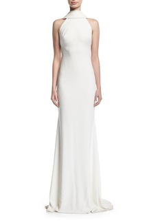 Badgley Mischka Beaded Loopback Sleeveless Column Evening Gown