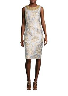 Badgley Mischka Beaded Metallic Brocade Sheath Dress