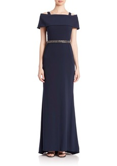 Badgley Mischka Beaded Off-The-Shoulder Gown