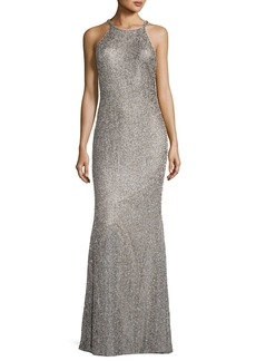Badgley Mischka Beaded Sleeveless Halter Racerback Column Evening Gown