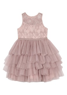 Badgley Mischka Collection Beaded Tulle Party Dress (Little Girl & Big Girl)