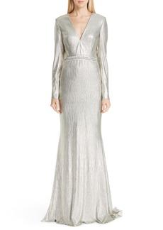 Badgley Mischka Platinum Beaded Waist Metallic Gown